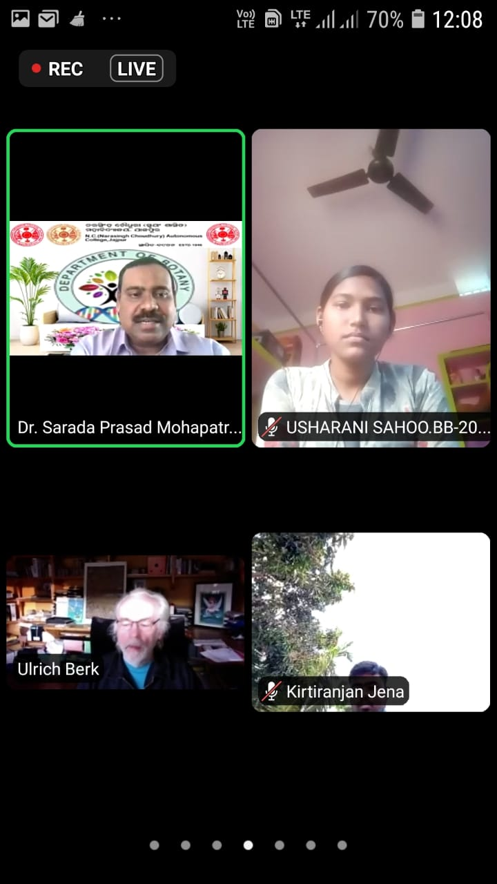"""Online Class: """"Induction Programme of 1st year Botany Hons students' on 1.3.2021"""